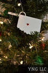 Kansas State Outline Topeka Red Heart Cutout Hanging Ornament Holiday Christmas Decor Made In USA PR244-KS