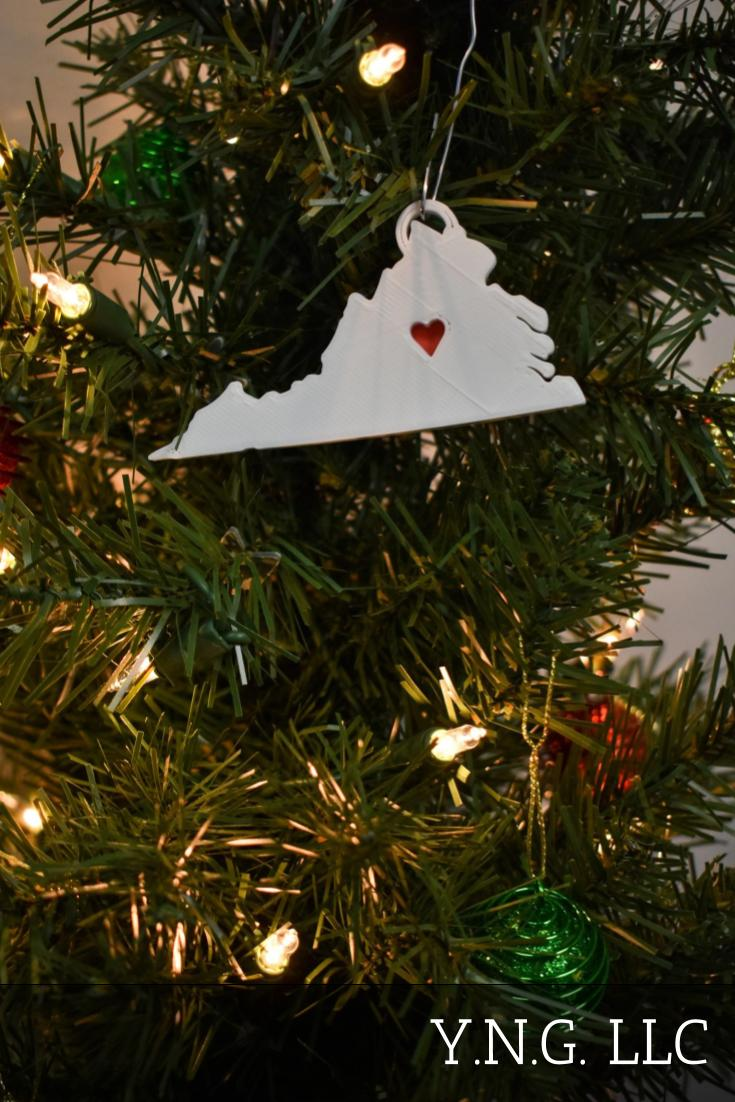 Virginia State Outline Richmond Red Heart Cutout Hanging Ornament Holiday Christmas Decor Made In USA PR244-VA