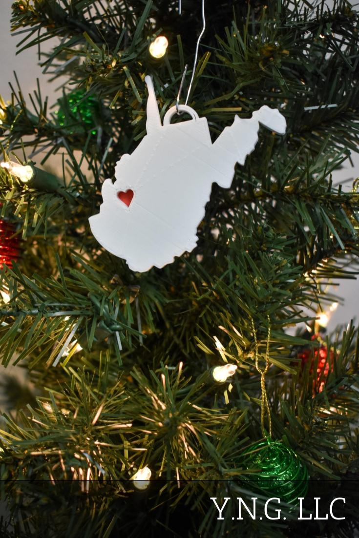 West Virginia State Outline Charleston Red Heart Cutout Hanging Ornament Holiday Christmas Decor Made In USA PR244-WV