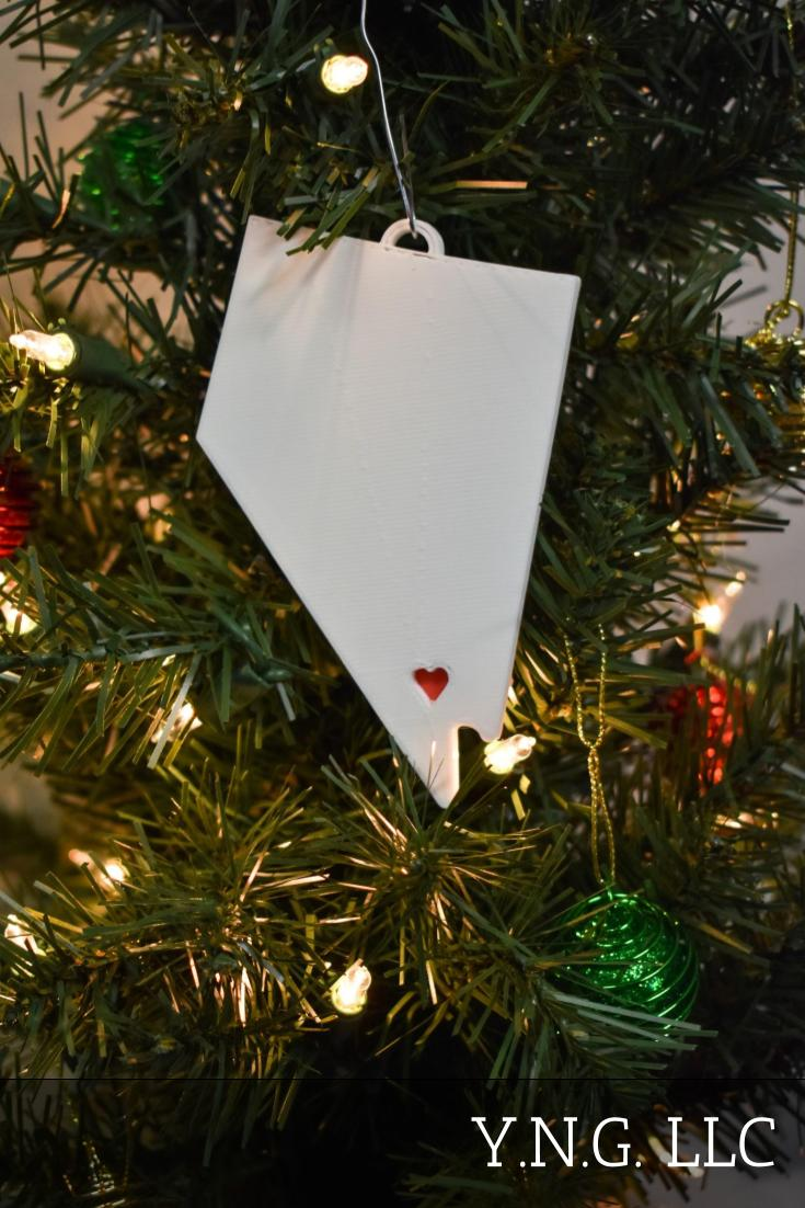 Nevada State Outline Carson City Red Heart Cutout Hanging Ornament Holiday Christmas Decor Made In USA PR244-NV