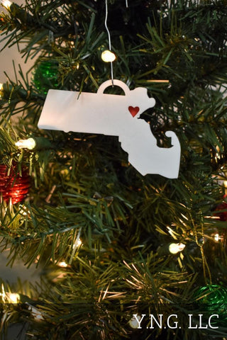 Vermont State Outline Montpelier Red Heart Cutout Hanging Ornament Holiday Christmas Decor Made In USA PR244-VT