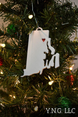 California State Outline Sacramento Red Heart Cutout Hanging Ornament Holiday Christmas Decor Made In USA PR244-CA