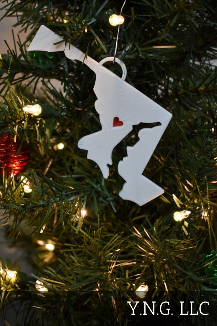 Maryland State Outline Annapolis Red Heart Cutout Hanging Ornament Holiday Christmas Decor Made In USA PR244-MD