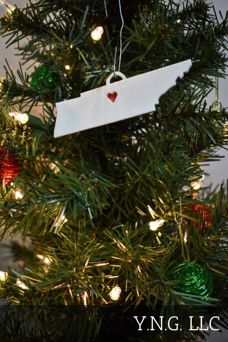 Tennessee State Outline Nashville Red Heart Cutout Hanging Ornament Holiday Christmas Decor Made In USA PR244-TN