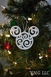 Mickey Mouse Head Ears Swirl Design Disney Cartoon Character Hanging Ornament Holiday Christmas Decor Made In USA PR2235