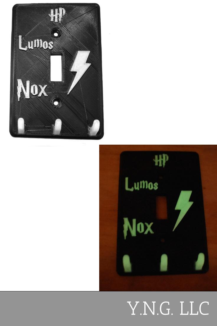 Harry Potter Themed Lumos Nox Glow In The Dark Single Light Switch Cover Wall Plate Made In USA PR2329