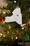 New Mexico State Outline Santa Fe Red Heart Cutout Hanging Ornament Holiday Christmas Decor Made In USA PR244-NM