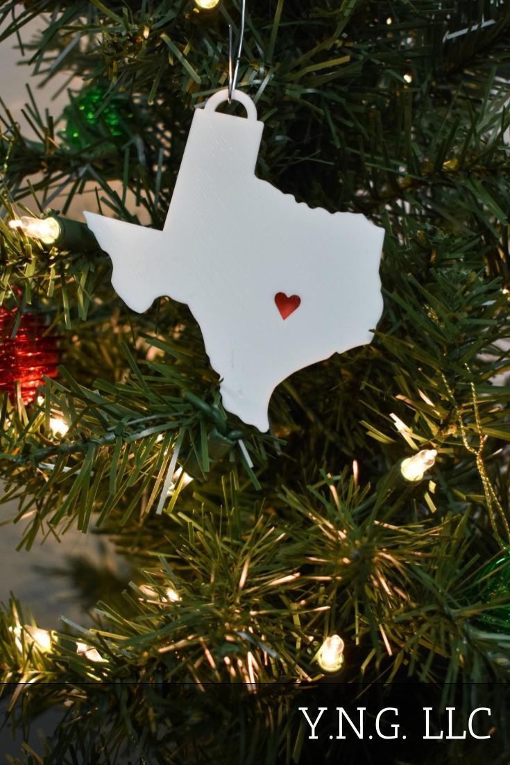 Texas State Outline Austin Red Heart Cutout Hanging Ornament Holiday Christmas Decor Made In USA PR244-TX