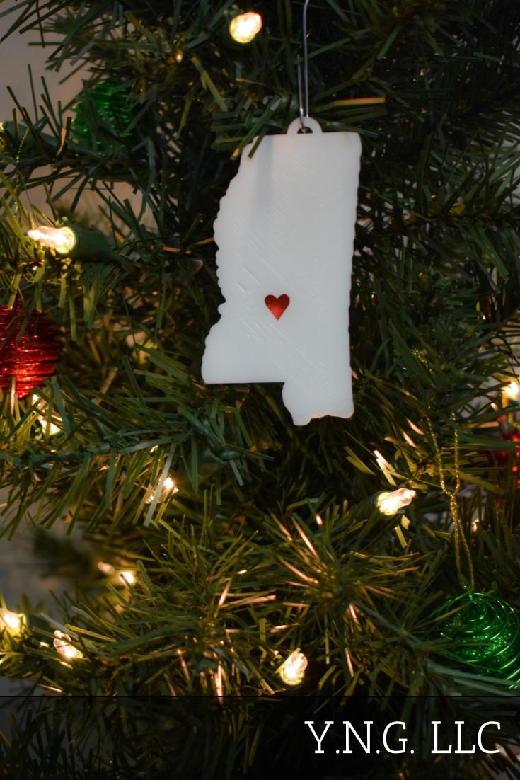 Mississippi State Outline Jackson Red Heart Cutout Hanging Ornament Holiday Christmas Decor Made In USA PR244-MS