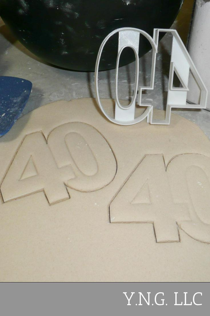 Number 40 Forty Anniversary Birthday Sports Party Special Occasion Cookie Cutter Baking Tool Made In USA PR108-40