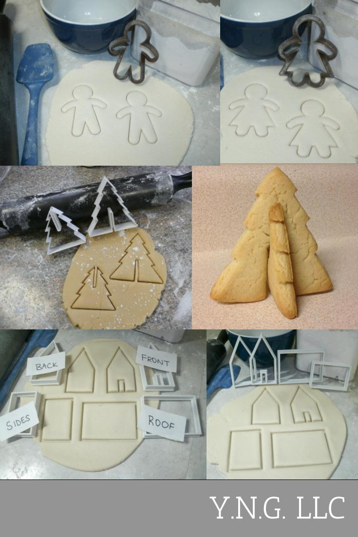 3D Gingerbread Village House Christmas Tree Gingerbread Man Woman Holiday Tradition Set Of 4 Special Occasion Cookie Cutters Baking Tool Made In USA PR1116