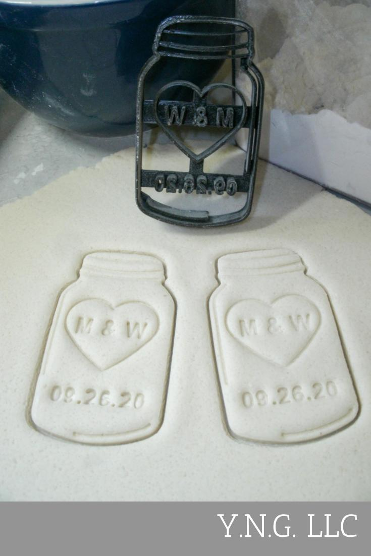 Mason Jar Personalized With Heart Initials Date Wedding Anniversary Special Occasion Cookie Cutter Baking Tool Made In USA PR2017