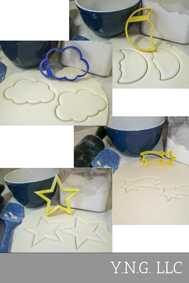 Twinkle Twinkle Little Star Baby Shower Celebration Birthday Party Moon Cloud Shooting Star Set Of 4 Special Occasion Cookie Cutters Baking Tool Made In USA PR1081