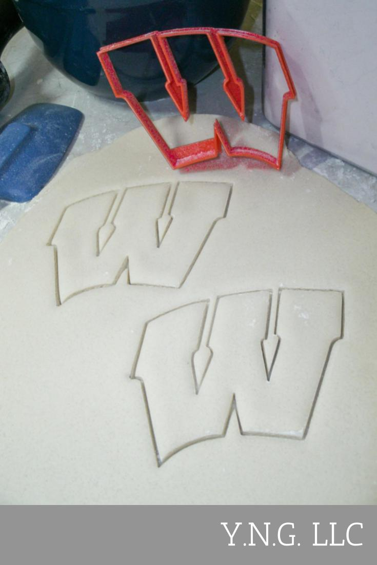 Wisconsin Badgers W Logo Football Basketball NCAA D1 Athletics Special Occasion Cookie Cutter Baking Tool Made In USA PR2215
