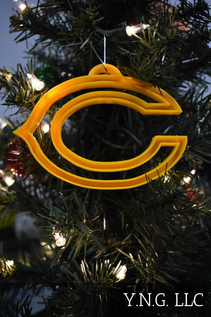 Chicago Bears NFL Football Logo Hanging Ornament Holiday Christmas Decor Made In USA PR2058