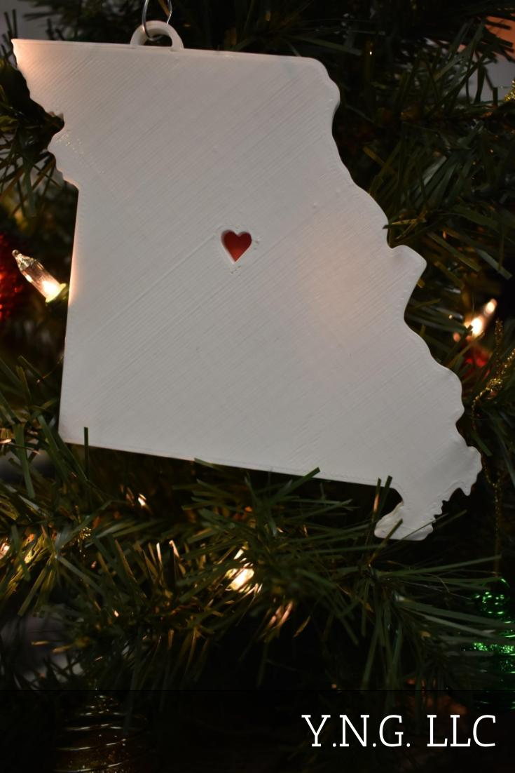 Missouri State Outline Jefferson City Red Heart Cutout Hanging Ornament Holiday Christmas Decor Made In USA PR244-MO