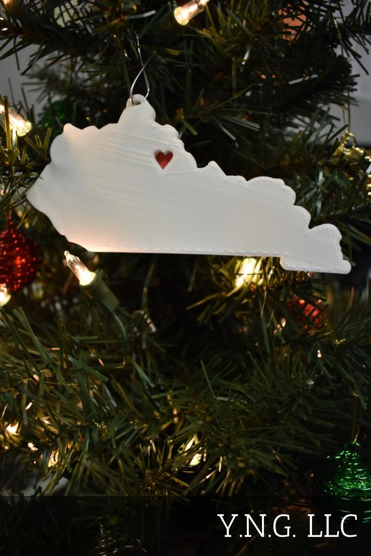 Kentucky State Outline Frankfort Red Heart Cutout Hanging Ornament Holiday Christmas Decor Made In USA PR244-KY
