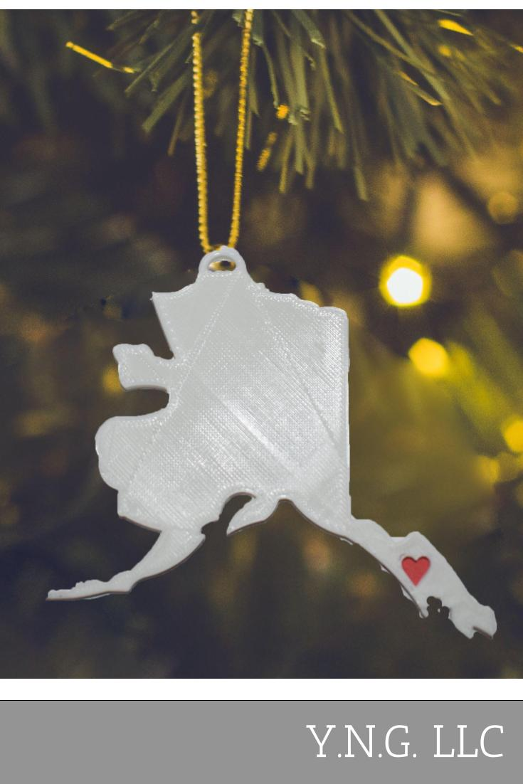 Alaska State Outline Juneau Red Heart Cutout Hanging Ornament Holiday Christmas Decor Made In USA PR244-AK