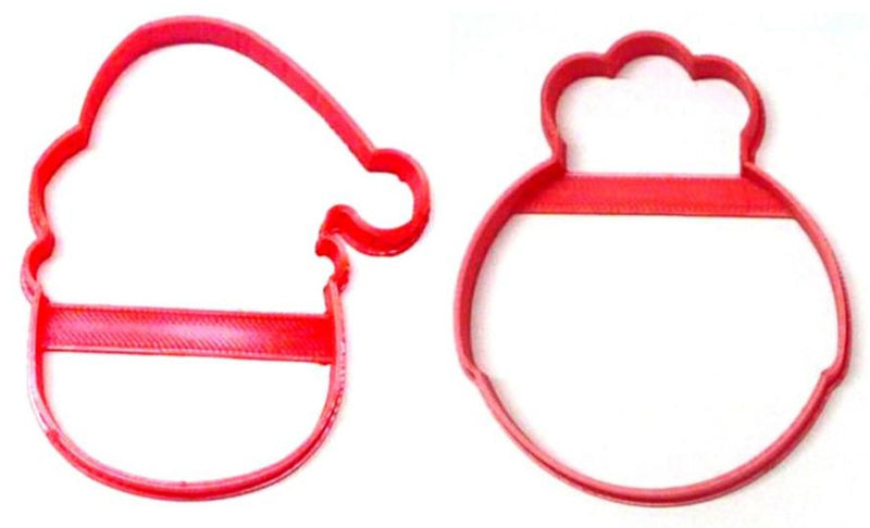 Santa And Mrs Claus Round Faces Outlines Set Of 2 Cookie Cutters USA PR1542