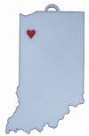 Indiana State Outline Rensselaer Red Heart Cutout Hanging Ornament Holiday Christmas Decor Made In USA PR244-IN