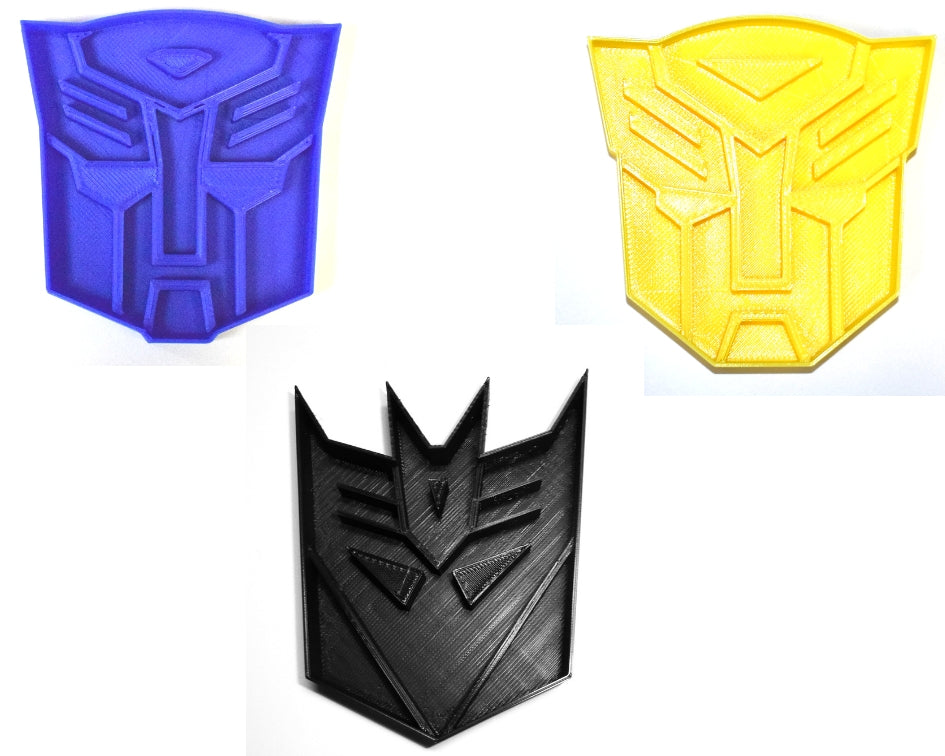 Transformers Autobot Decepticon Bumblebee Character Logos Set Of 3 Special Occasion Cookie Cutters Baking Tool Made In USA PR1004