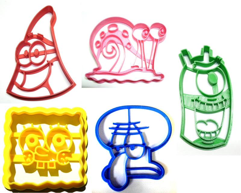 Spongebob Squarepants Cartoon Characters Set Of 5 Special Occasion Cookie Cutters Baking Tool Made In USA PR1027