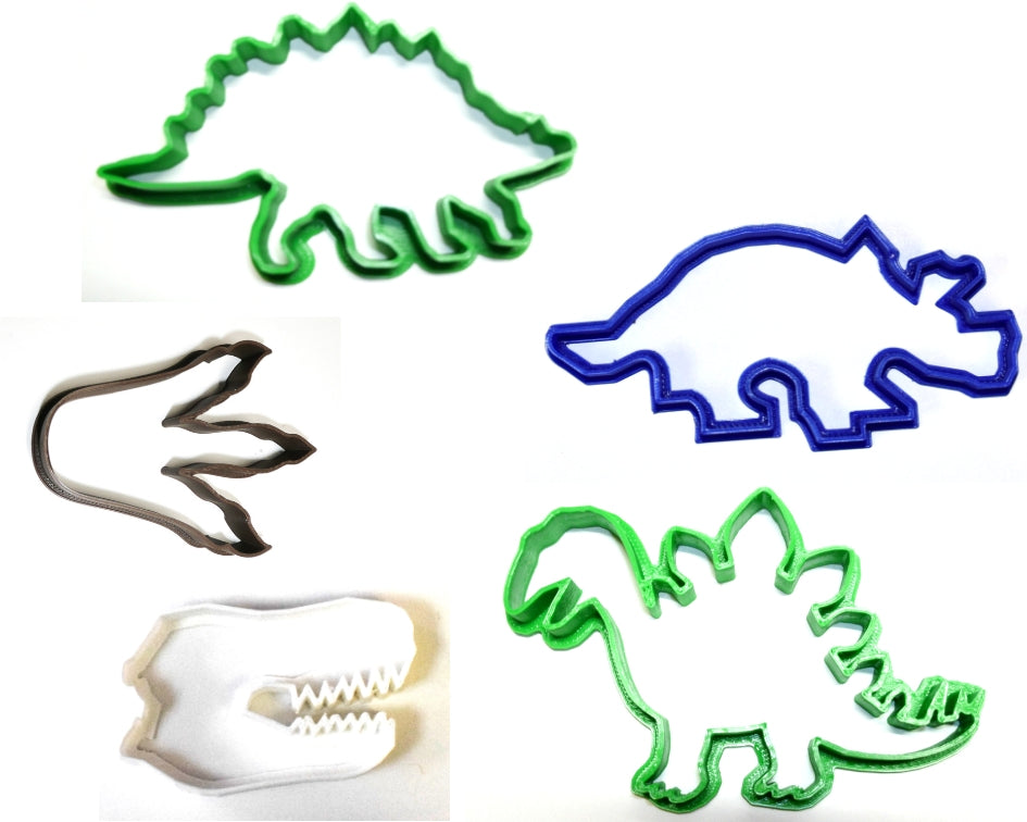Dinosaurs T-Rex Triceratops Stegosaurus Set Of 5 Special Occasion Cookie Cutters Baking Tool Made in USA PR1033
