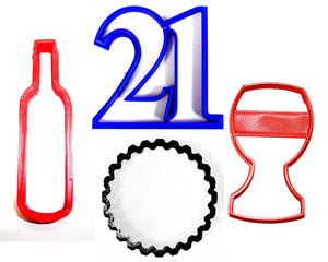 "21st Birthday Party Celebration Number Twenty-one Wine Glass Bottle Cap Set Of 4 Special Occasion Fondant Stamp Cutter or Cupcake Topper Size 1.75"" Made in USA FD1037"