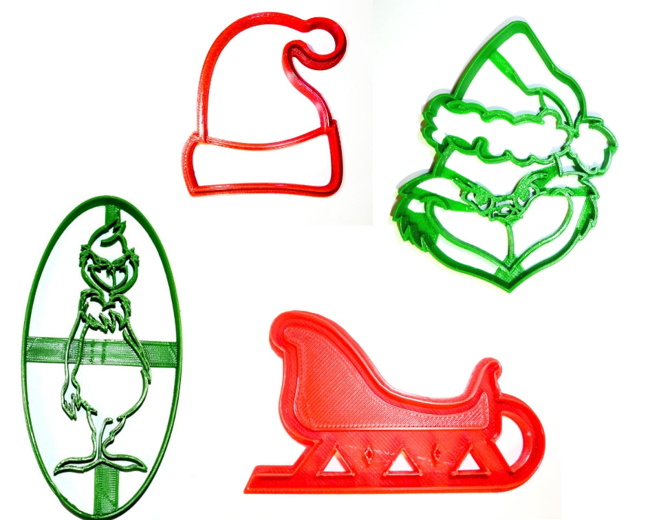 Grinch Christmas Movie Book Dr Seuss Set Of 4 Cookie Cutters USA PR1070