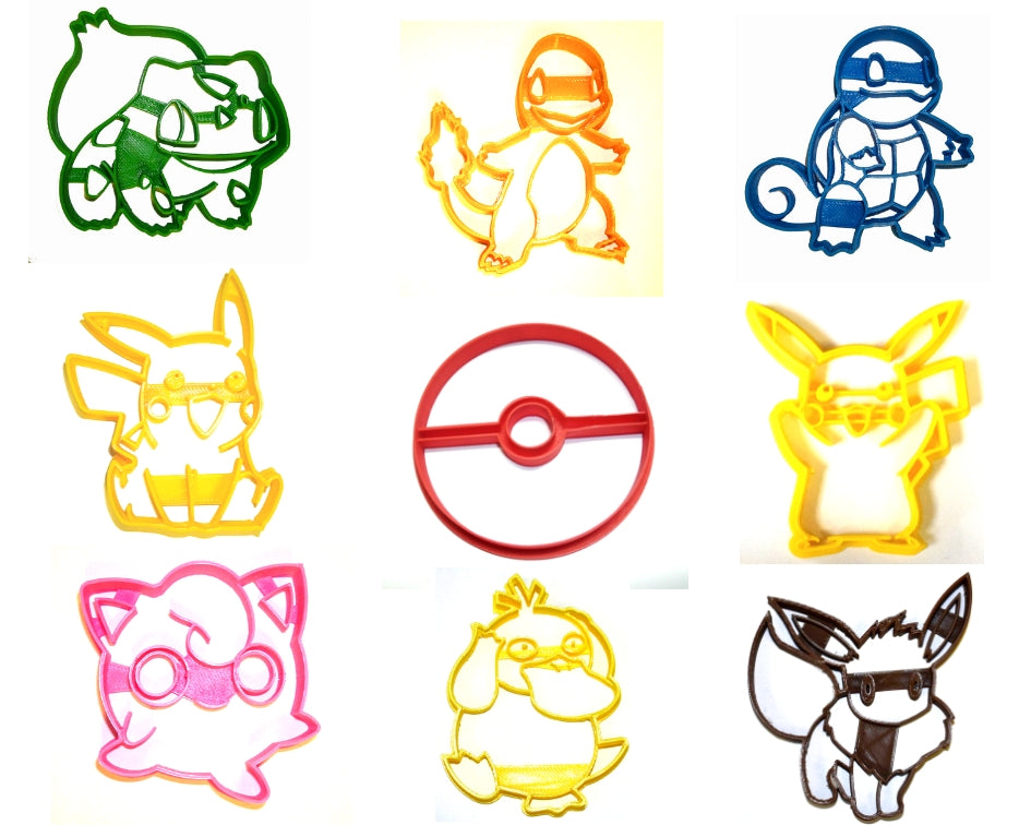 Pokemon Master Kit Pikachu Pokeball Eevee Psyduck Bulbasaur Jigglypuff More Set Of 9 Special Occasion Cookie Cutters Baking Tool Made In USA PR1099