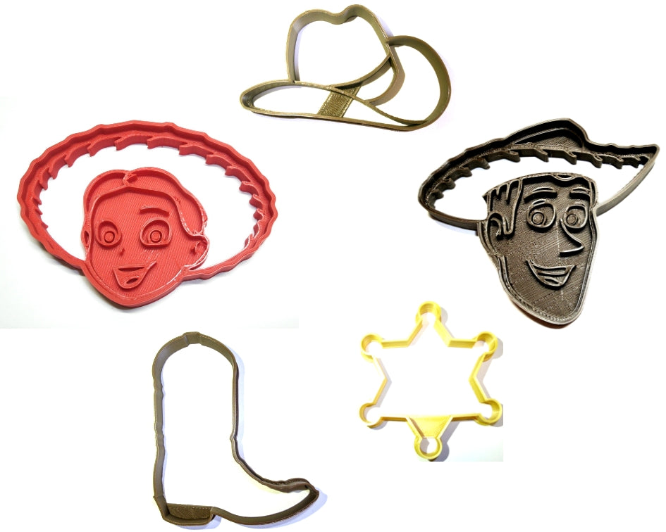 "Woody And Jessie Cowboy Cowgirl Toy Story Disney Pixar Set Of 5 Special Occasion Fondant Stamp Cutters Or Cupcake Toppers Size 1.75"" Made In USA FD1106"