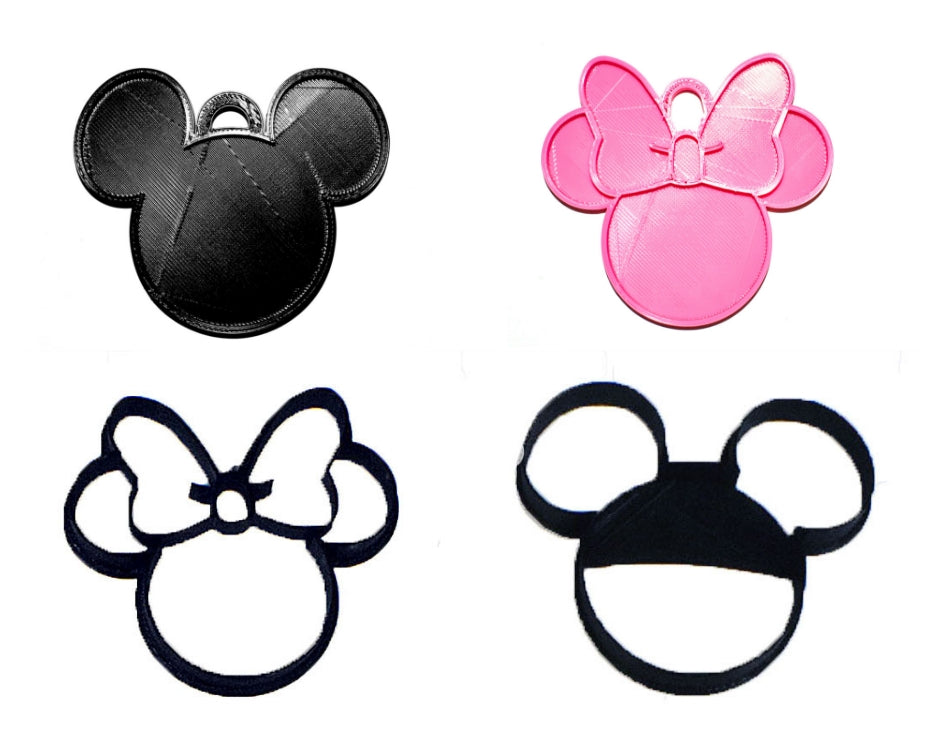 Mickey And Minnie Mouse Heads Disney Cookie Cutters And Hanging Ornaments Set Of 4 Made In USA PR1121