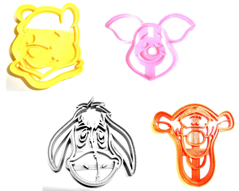Winnie The Pooh Disney Cartoon Book Characters Bear Tigger Eeyore Piglet Set Of 4 Special Occasion Cookie Cutters Baking Tool Made In USA PR493