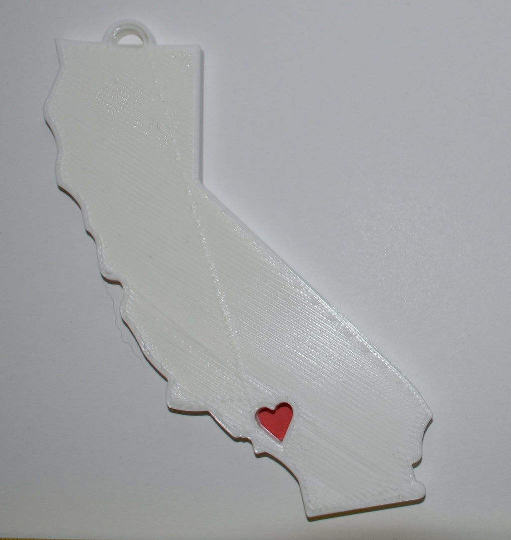 California State Sacramento Heart Ornament Holiday Christmas Decor USA PR244-CA