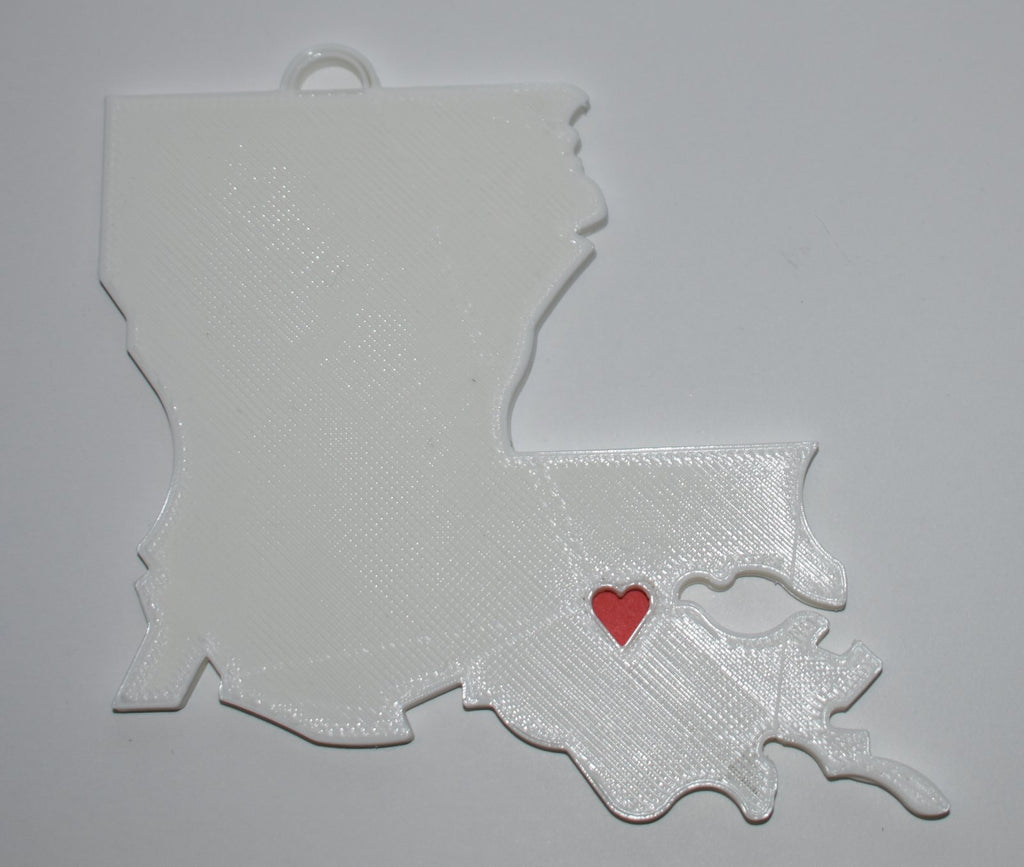 Louisiana State Outline Baton Rouge Red Heart Cutout Hanging Ornament Holiday Christmas Decor Made In USA PR244-LA
