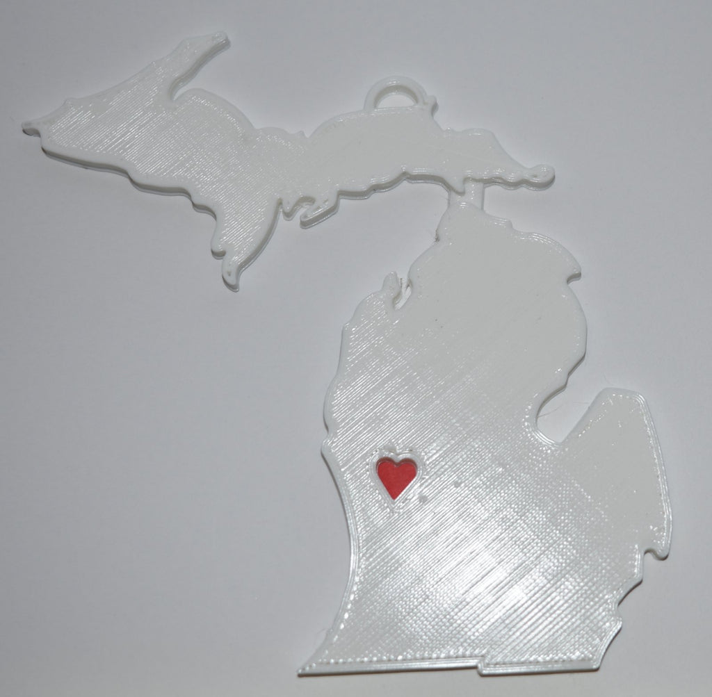 Michigan State Outline Lansing Red Heart Cutout Hanging Ornament Holiday Christmas Decor Made In USA PR244-MI
