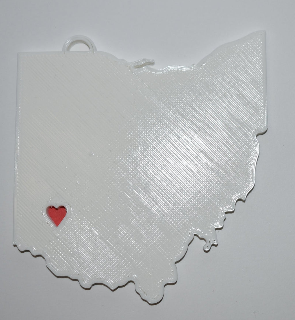 Ohio State Outline Columbus Red Heart Cutout Hanging Ornament Holiday Christmas Decor Made In USA PR244-OH