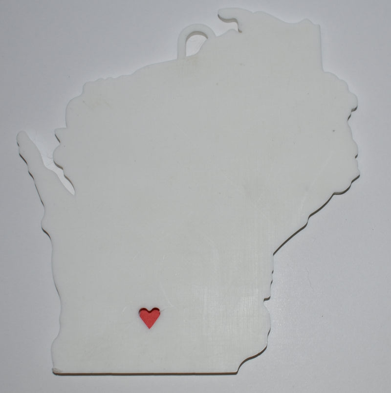 Wisconsin State Outline Madison Red Heart Cutout Hanging Ornament Holiday Christmas Decor Made In USA PR244-WI