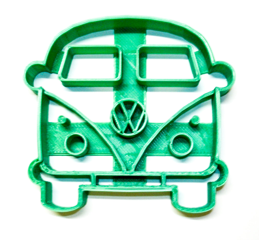"VW Van Bus Microbus Front View 1950s Vintage Vehicle Travel Camper Special Occasion Fondant Stamp Cutter Or Cupcake Topper Size 1.75"" Made In USA FD2161"