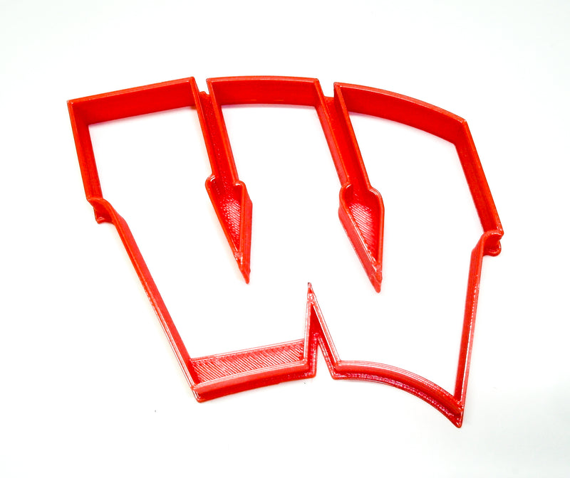 "Wisconsin Badgers W Logo Football Basketball NCAA D1 Athletics Special Occasion Fondant Stamp Cutter Or Cupcake Topper Size 1.75"" Made In USA FD2215"
