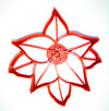 "Poinsettia Plant Red Green Foliage Christmas Star Flower Special Occasion Fondant Stamp Cutter Or Cupcake Topper Size 1.75"" Made In USA FD2229"