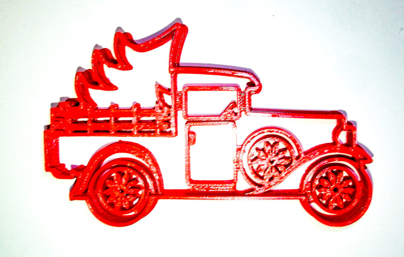 "Vintage Classic Antique Pickup Truck With Christmas Tree Special Occasion Fondant Stamp Cutter Or Cupcake Topper Size 1.75"" Made In USA FD2237"