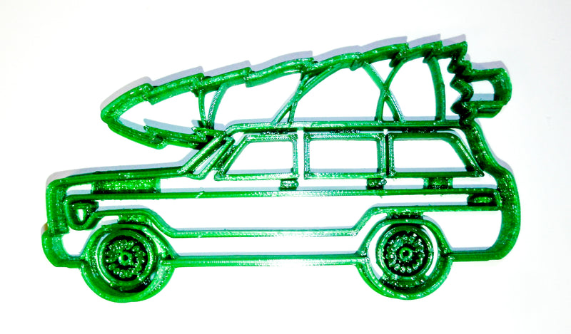 "Vintage Classic Antique Wood Panel Station Wagon Woodie With Christmas Tree Special Occasion Fondant Stamp Cutter Or Cupcake Topper Size 1.75"" Made In USA FD2243"