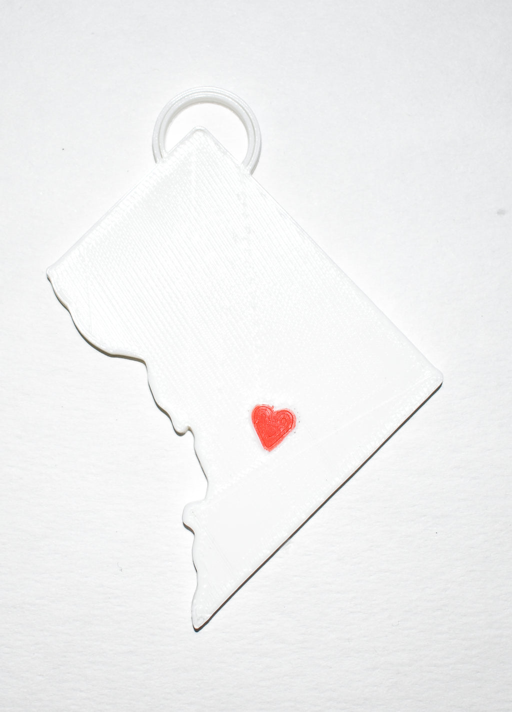 Washington DC District Of Columbia Outline Capital Red Heart Cutout Hanging Ornament Holiday Christmas Decor Made In USA PR244-DC