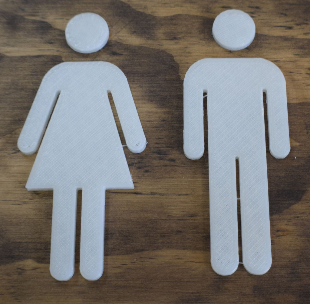 Bathroom Standard Icon Markers Toilet Sign Restroom Men Womens Ladies Figures Plaque Figurines Set 3D Printed - Made In USA PR80