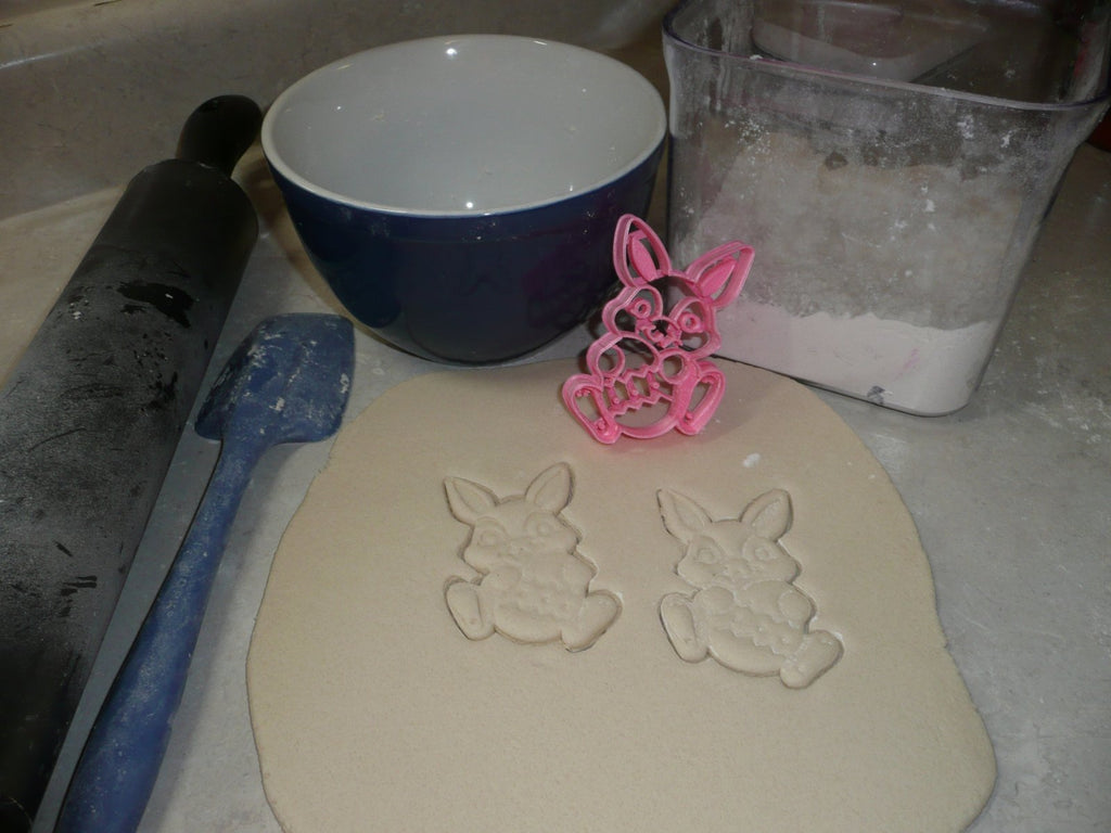 Easter Bunny Rabbit Holding Egg Hunt Spring Season Holiday Celebration Special Occasion Cookie Cutter Baking Tool Made In USA PR2400