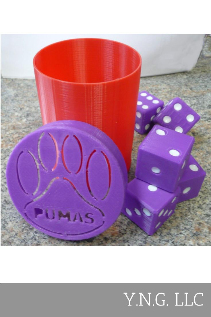 Saint Joseph's College SJC Pumas Dice Game with Container 3D Printed Made in USA PR862