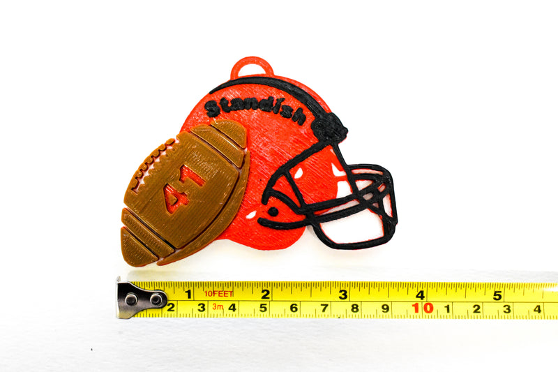 Football Helmet Personalized Name Number Tri Color Hanging Ornament Holiday Christmas Decor Made In USA PR2325