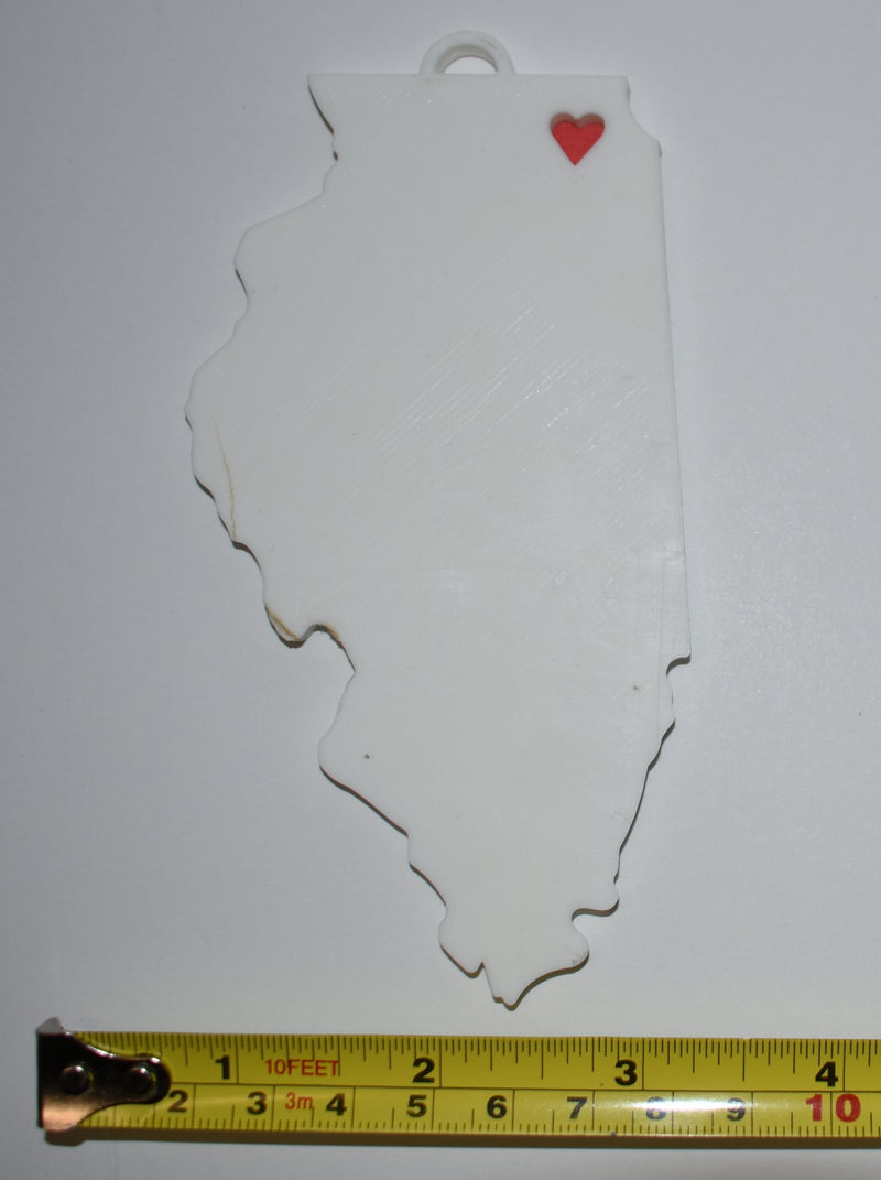 Illinois State Outline Springfield Red Heart Cutout Hanging Ornament Holiday Christmas Decor Made In USA PR244-IL
