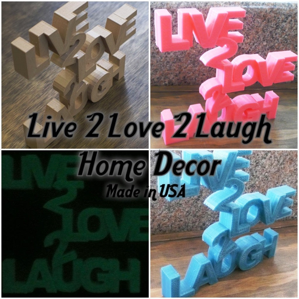 Live 2 Love 2 Laugh Sign Home Decor Wall Art 3D Printed Choose A Color USA PR28